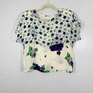 Vintage 90's White Purple Multi Rose  Blouse